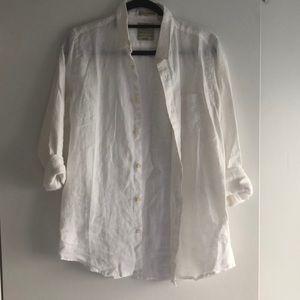 White Linen Button Down Shirt Men's XS (Fits M-L)